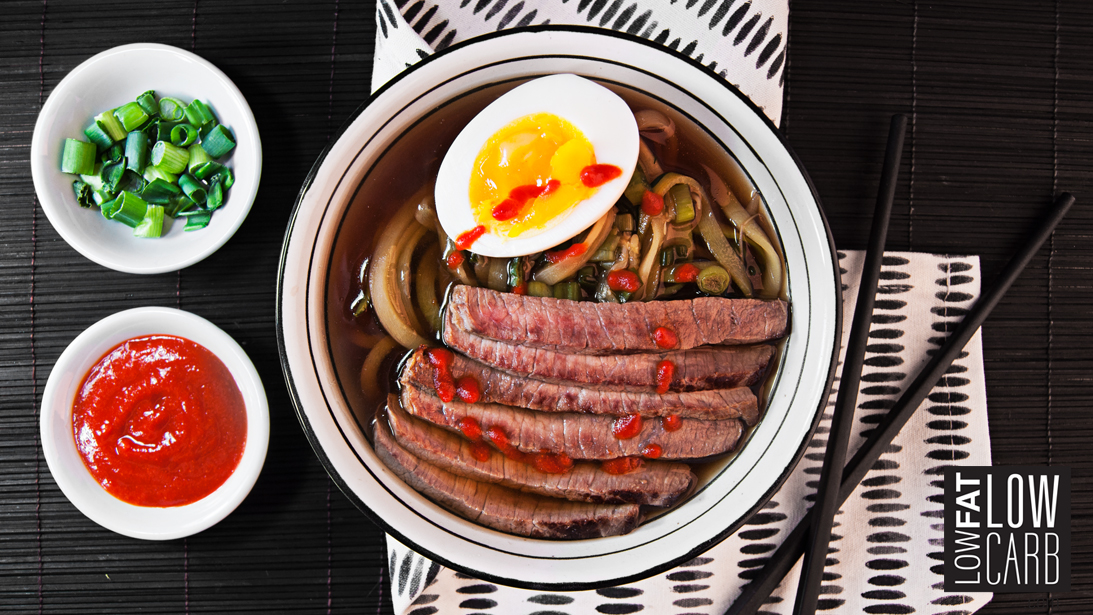 low carb low fat beef ramen bowl