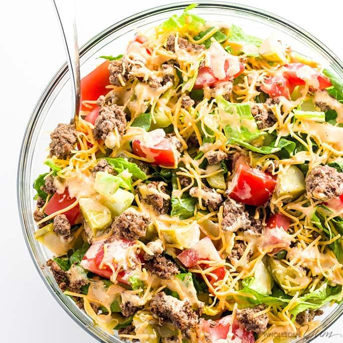 Low CArb Gluten Free Big Mac Salad